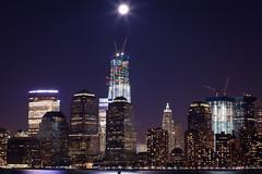 moon over new york (jfindlay) Tags: new york city moon water night canon lights 5d 18 85 mkii