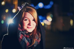 Sarah (Rick Nunn) Tags: winter portrait cute girl smile night scarf lights eyes bokeh flare hood spadge canonef50mmf14usm strobist ricknunn