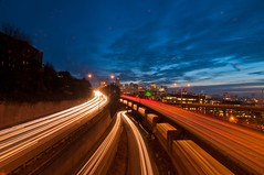 Longest Commute of the Year (sunrisesoup) Tags: seattle winter sunset downtown overpass solstice commute lighttrails lakeview cartrails sunrisesoup