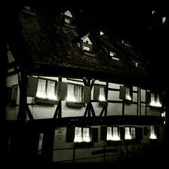 """Ulm, Germany ... Fischer Viertel ... Hotel """"Schiefes Haus"""" (PeggyDavid) Tags: germany blackwhite johns ulm fischerviertel claunch hipstamatic iphone4s claunch72monochrome"""