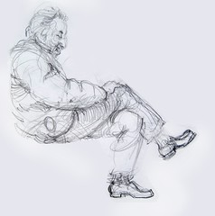 Sleeping man with bobbing foot (artsentinel) Tags: figuredrawing commuters sketchbookdrawings citypeople portraitdrawing newyorkcityviews subwaysketches urbansketchers floridalandscapepainting urbansketcher subwaysketcher subwaysketcherurbansketcher keithgunderson
