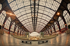 Antwerpen Centraal (Allard Schager) Tags: winter architecture lights design nikon december belgium belgique belgie empty tracks trains fisheye tiles trainstation historical strike antwerp benches cinematic vignetting flemish eclectic antwerpen harsh bold overthetop flanders bogen vlaams koepel historisch tegels leeg bankjes vlaanderen staking 2011 filmisch antwerpcentralstation antwerpencentraal 7xp nikcolorefexpro d700 enfuse louisdelacenserie nikond700 nikonfx nikkor16mmf28fisheye allardone 18951905 allard1 duohardstrak dramaticimpact fullframepower allardschagercom
