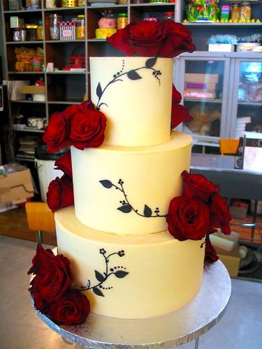 3 Tier Wicked Chocolate Wedding Cake Iced In White Chocolate Ganache