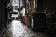 City Dumpsters (stephen cosh (on holiday)) Tags: life street leica city people blackandwhite bw sepia dumpster mono scotland town garbage backalley unitedkingdom glasgow candid streetphotography rangefinder backstreet bin alleyway reallife humancondition blackandwhitephotos 50mmsummilux blackwhitephotos leicam9 stephencosh