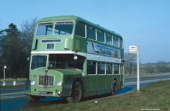 United Counties 676 on its way to the breakers, 1980 (Lady Wulfrun) Tags: bus green buses bristol nbc northampton northamptonshire bedfordshire busstop company stop 1980 1980s scrap thisisit fs omnibus brokendown ecw 676 charleswells lodekka unitedcounties ucoc
