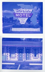 Gainesville, FL (patrickjoust) Tags: blue usa color film sign analog america project print polaroid us focus diptych florida south united north gainesville patrick motel rangefinder 350 american automatic type instant fl 100 states manual joust range finder impossible estados unidos autaut patrickjoust