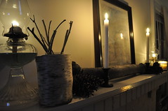January Mantle (~Jonesie~) Tags: winter candles habit birchwood myhome mantle whitemantle hurricanelamp januarymantle