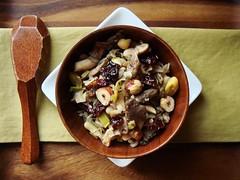 Wild Rice with Flageolet, Leeks, Oyster Mushroom (ComeUndone) Tags: mushroom vegan vegetarian 365 leek hazelnut wildrice epicurious flageolet oystermushroom ranchogordo gourmetmagazine driedcherry