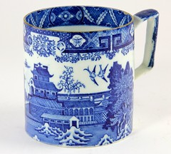 102. Unusual Antique Blue Willow Mug