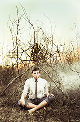 181/365: The Home That Never Was. (Cameron John Sarradet) Tags: trees sunset selfportrait david male art canon vintage dark photography sticks woods branches smoke tie cameron emotional tipi talley 365project sarradet