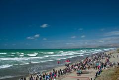 A Big Crowd (Jocey K) Tags: sea christchurch sky people beach water fence brighton waves nz sandcastles newbrighton