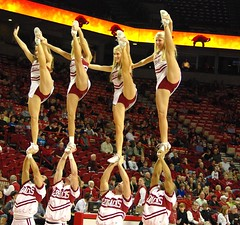 Handsful of Hog Cheerleaders (piratetuba) Tags: beautiful basketball cheerleaders kick explore blond arkansas stunt fayetteville hogs razorbacks wps budwaltonarena
