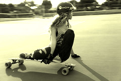 being free (Izzy Guttuso) Tags: girl board skating longboard skater sliding tenniscourt longboarding londboarder