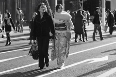 Wondering what they are looking at... (Meg Foto Japo) Tags: people bw japan japanese tokyo ginza kimono