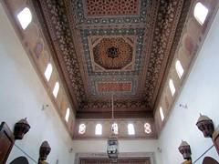 Exquisite painted ceiling in Bahia Palace. (Linda DV) Tags: africa travel canon geotagged morocco maroc atlas marrakech marrakesh highatlas 2011 bahiapalace almarib  lindadevolder  powershotsx30 ochrecity