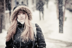 today's first snow girl (stephane (montreal)) Tags: street winter portrait people urban snow girl beautiful hair de photography long photographie bokeh candid hiver neige rue ville stephane 2012 urbaine paquet