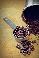 Ready For The Morning (Sue90ca HAPPY ANNIVERSARY TO US   ) Tags: wood brown cup metal canon 50mm beans drink coffe grind 60d 15challengeswinner