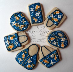 Vera Bradley Ellie Blue Custom Decorated Cookie Purses (Sugar Envy) Tags: flowers cookies spring wallet patterns sugar event clutch bags hugo launch sack purses tote favors verabradley sugarenvy ellieblue envynet