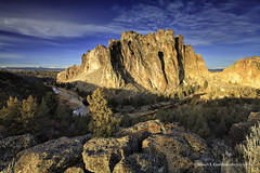 Sunrise at Smith Rock_1037_1031Comp4_WM (chasingthelight10) Tags: usa nature oregon photography dawn volcano landscapes bend events ngc places rivers volcanoes vistas sunrises rockclimbing smithrock crookedriver rockformations nationalgeographic terrebonne smithrockstatepark volcaniceruption