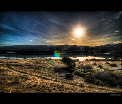 this time with flare [explore] (elmofoto) Tags: sf california blue sunset orange lake mountains reflection water northerncalifornia landscape rainbow san fav50 wideangle andreas fav20 explore fault flare norcal fav30 hdr highdynamicrange flair pf gettyimages fav10 photomatix fav100 tonemapping explored fav40 5000v fav60 fav90 fav80 fav70 borderfx elmofoto lorenzomontezemolo