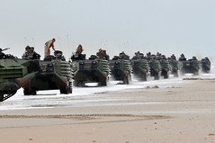 Amphibious assault vehicles come ashore. (Official U.S. Navy Imagery) Tags: us nc usnavy camplejeune usmarines boldalligator12 wwwfacebookcomusnavy