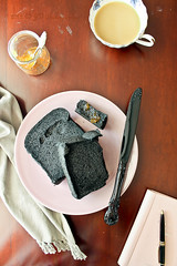 Bamboo Charcoal Bread & Apricot Preserves for Breakfast II (Smoky Wok (Jasmine)) Tags: morning light coffee pen notebook morninglight desk toast knife peaceful aerialview naturallight simplicity malaysia sweets athome kualalumpur jam stillness windowlight foodphotography foodstyling directlyabove apricotpreserves charcoalbread breakfastsetting jvphotography smokywok