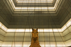 Horse at Museu de la Msica, Barcelona (basair) Tags: barcelona light sculpture horse music reflection art museum spain catalonia symmetry