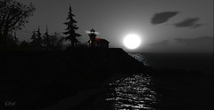 Moon Lit Waters (erikmofanui) Tags: ocean sea beautiful silhouette night landscape fullmoon moonlight afterdark secondlifephotography secondlifelandscapes
