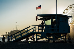 Santa Monica   |   Lifeguard Station (JB_1984) Tags: california ca sunset shadow usa beach silhouette evening pier twilight unitedstates santamonica flag lifeguard pacificocean socal southerncalifornia santamonicapier lifeguardstation losangelescounty lifeguardhut