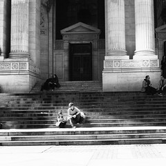 New York Public Library - April 2016 (jeffreyjune16) Tags: nyc urban bw ny newyork architecture stairs noiretblanc streetphotography newyorkpubliclibrary bnw publiclibrary