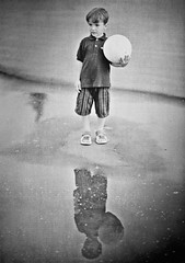 Never-Never Land (Steve Lundqvist) Tags: boy portrait bw monochrome ball children kid toddler child ritratto
