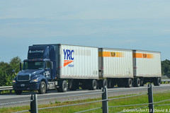Roadway Freightliner Columbia with Triples (IN) (Trucks, Buses, & Trains by granitefan713) Tags: yellow pups columbia triples lcv roadway tractortrailer freightliner ltl yrc singleaxle daycab yellowfreight trucktractor nonsleeper freightlinertruck freightlinercolumbia lessthantruckload puptrailers yrcfreight ltltractor tripletrailers roadwayfreight