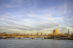 A view from Hungerford Bridge (yorkshire stacked) Tags: november autumn sky london westminster thames clouds river boats lights pier nikon colours skyscrapers ships bridges barbican cranes waterloo stpaulscathedral contrails riverthames gherkin hdr embankment 30stmaryaxe tower42 blackfriarsbridge waterloobridge bracketing bracketed theshard herontower nikkor18105mm nikond7000