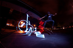 Flippin (biszign) Tags: light night graffiti nocturnal extreme flip skateboard  airborne