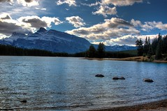 Mount Rundle From Two Jack (johnfuj) Tags: park mountain lake canada nationalpark evergreen shore alberta banff mountrundle banffnationalpark twojacklake watertree cloudscanadaalbertabanffbanffnationalparkparknationalparkmountrundletwojacklakemountainlakewatertreeevergreenshoreclouds
