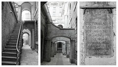 Lightwells & Deadhouse: Somerset House (Curry15) Tags: bw london strand stairs skull blackwhite triptych tombstone steps somersethouse riverthames crossbones georgianarchitecture wc2 deadhouse alongthethames sirwilliamchambers lighwells lightwellsdeadhouse