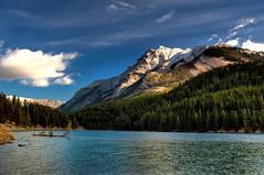 Two Jack Lake and Mount Inglismaldie (johnfuj) Tags: park mountain lake canada nationalpark evergreen shore alberta banff banffnationalpark twojacklake watertree mountinglismaldie