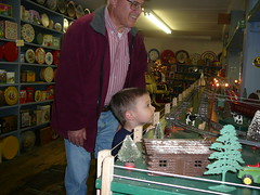Dominic with Grandpop checking out model trains