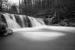 Hurricane Creek in black and white (clay.wells) Tags: county blue autumn white pope black fall monochrome creek canon lens photography eos waterfall long exposure december hole zoom clayton hurricane wells filter nd arkansas usm six cascade ef 1740mm density neutral 2011 f4l 40d 6stop img4445bmweb
