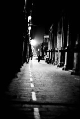 a night (Tunguska RdM) Tags: city light shadow urban white black film night 35mm pentax path 55mm mx rapid development ilford fp4 ricoh develop fixer rikenon ilfosol mygearandme mygearandmepremium mygearandmebronze flickrstruereflectionlevel1 photographyforrecreationbwclassic
