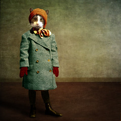 The Chilly Girl - la frileuse (Martine Roch) Tags: christmas winter portrait holiday cute girl animal digital cat vintage costume kitten surreal photomontage surrealist elegant martineroch flypapertextures lescaractères htecharacters