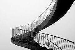 stairways to ? (cc) (marfis75) Tags: bridge blackandwhite white black monochrome stairs start germany deutschland wiesbaden hessen top omega steps gang monotone exhibition stairwell course hallway treppe cc alleyway finish end koi sw alpha brcke weiss without schwarz ausstellung strairs stopmotion drift gitter endless anfang stufen ende stufe entree getgo schweben openend schwarzweis schwebend ccbysa schiersteiner marfis75 stopandmotion koinudelbar