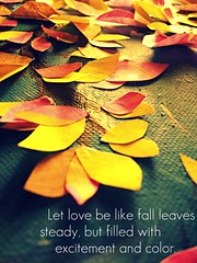 Love like leaves. (FadedKate) Tags: pink blue leaves yellow painting paint katiebowers lovelikeleaves