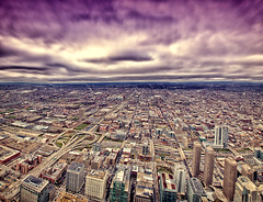 A day in the city of chicago... (whoisnd) Tags: city building colors clouds canon vanishingpoint view purple sears searstower horizon towers structure 1740mm chicao pp 17mm 1d4 pped 1div