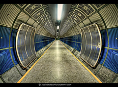 Tunnel To Infinity HDR (Edwinjones) Tags: pictures city uk blue england urban color colour building london art texture lines architecture modern buildings londonbridge underground photography grey lights design photo colours metro photos jubilee sony tube perspective picture sigma wideangle tunnel pic tubestation londonunderground dslr northern jubileeline northernline tubetrain undergroundstation centralperspective dslra700