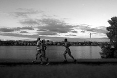 Run By (zachstern) Tags: sunset wallpaper sky bw tree clouds river see dc site path run trail runners washingtonmonument runner potomacriver