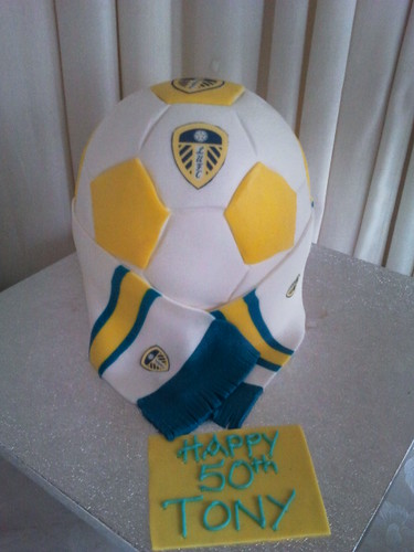 Leeds United Ball Shaped Cake A Photo On Flickriver