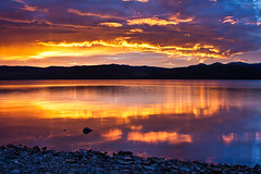Topaz Lake (Jeffrey Sullivan) Tags: morning copyright usa lake reflection jeff weather clouds sunrise photo day cloudy nevada sierra sullivan eastern topaz partly douglascounty 2011