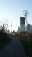 Toronto from the trail (Bad Alley (Cat)) Tags: city autumn toronto fall skyline december cntower urbannature donvalley donvalleytrail lowerdonrecreationtrail