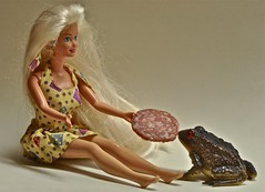 Barbie Feeds a Toad a Big Hunk of Salami (ricko) Tags: deleteme5 deleteme8 food deleteme deleteme2 deleteme3 deleteme4 deleteme6 deleteme9 deleteme7 doll saveme4 saveme saveme2 saveme3 deleteme10 barbie meat toad salami mdpd11 mdpd1112